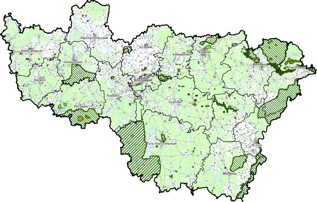 Схема особо охраняемых природных территорий Владимирской области